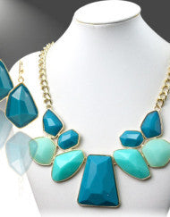 Island Blue Abstract Necklace Set