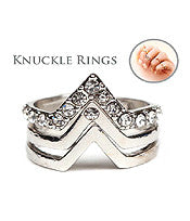 Chevron Stackable Knucle Fashion Ring Set