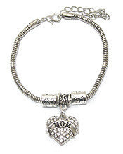 Charm Bracelet- Crystal Heart Mom