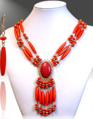 On the Bright Side Necklace Set-Orange