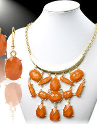 Falling Abstract Necklace Set (Orange & Blue)