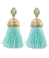 Living the Dream Tassel Earrings-Mint
