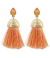 Living the Dream Tassel Earrings-Peach