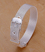 Sterling Silver Plated Mesh Band Buckle Bracelet