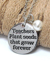 Teacher Appreciation Pendant Necklace