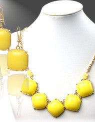 Don't Be Square Yellow Couture Necklace Set