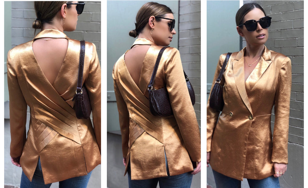 AMQN Boutique Satin Gold Blazer by Current Air Amannequin