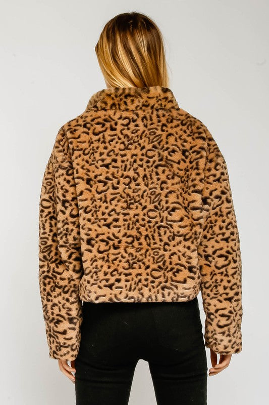 Jules Faux Fur Leopard Zip Up Pullover