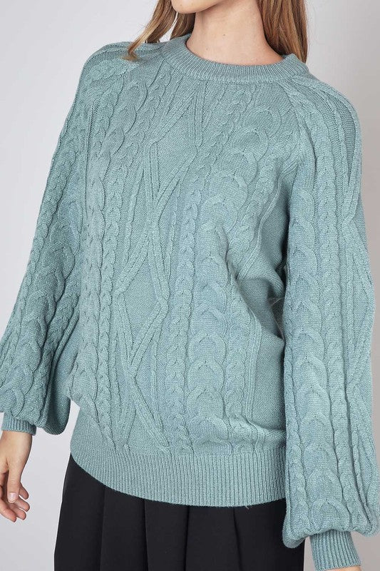 Freja Cable Knit Puff Sleeve Sweater