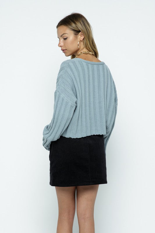 Giselle Rib Knit Cropped Sweater