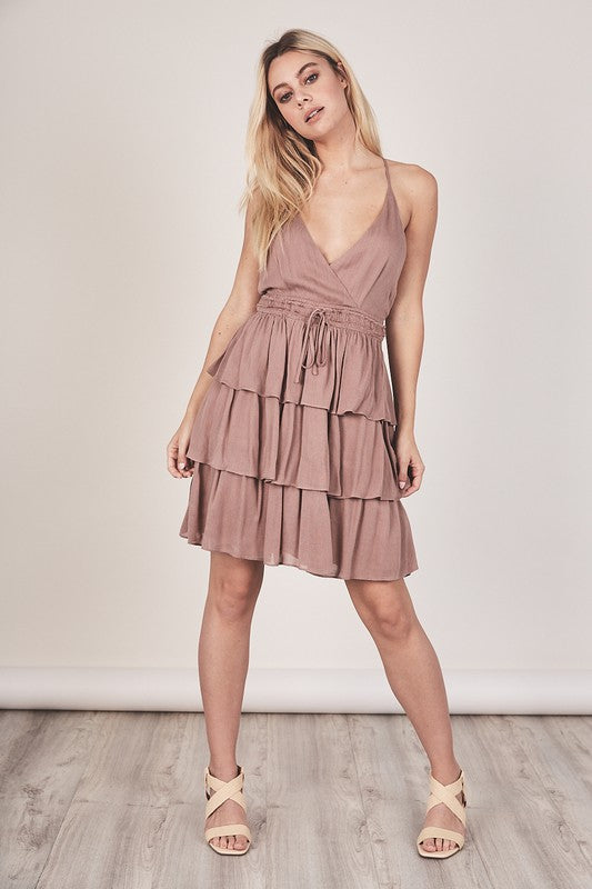 Theodora Tiered Halter Dress | Mauve