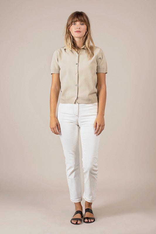 EMMA SHORT SLEEVE BUTTON DOWN CARDIGAN - BEIGE