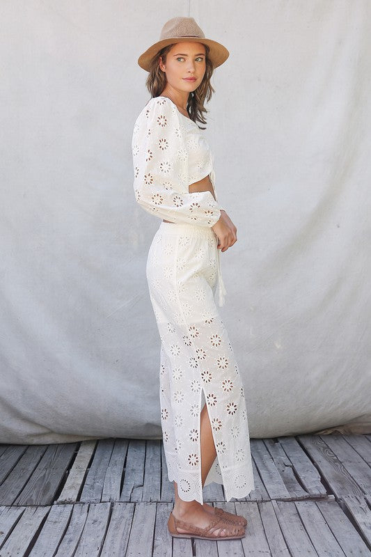 Kennedy Floral Eyelet Pant Set | White