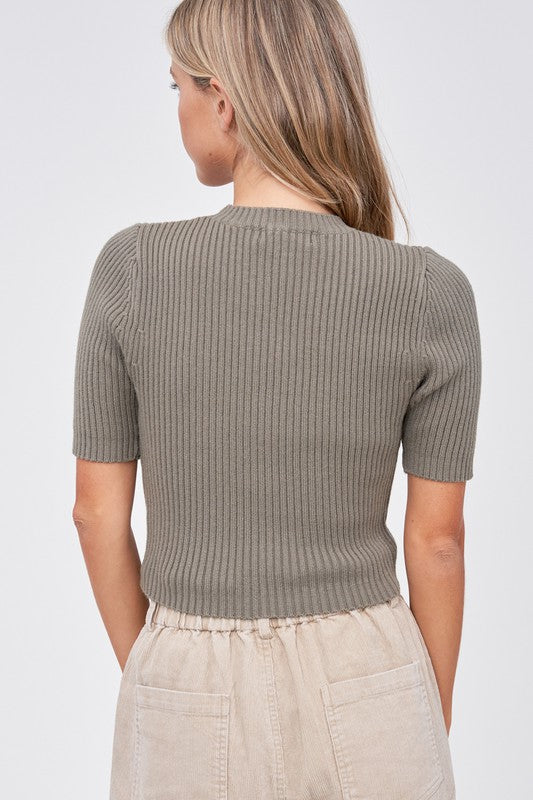 Annie Rib Knit Short Sleeve Top - Olive Green