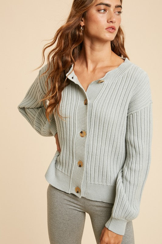 Jordon Puff Sleeve Cardigan - Dusty Sage