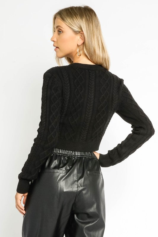 Prim Cable Knit Cropped Cardigan - Black