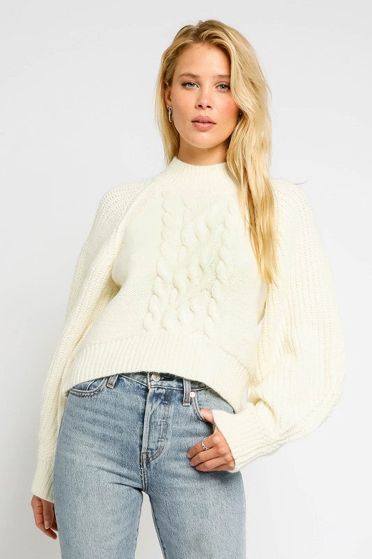 Izzie Cable Knit Puff Sleeve Cropped Sweater
