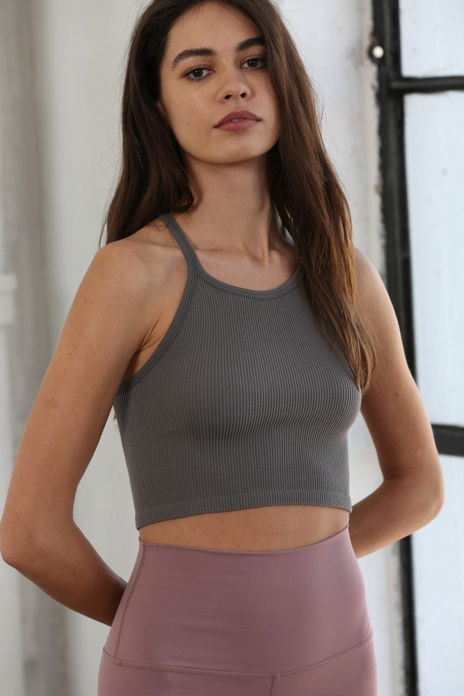 Adriana Seamless Ribbed Halter Neck Top