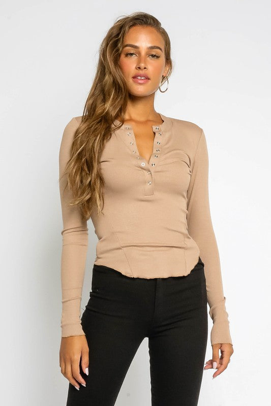 Marnie Rib Knit Button Up Henley