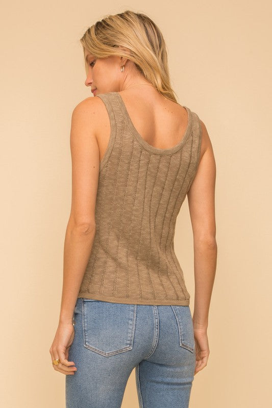 Lydia Ribbed Knit Tank | Olive Green