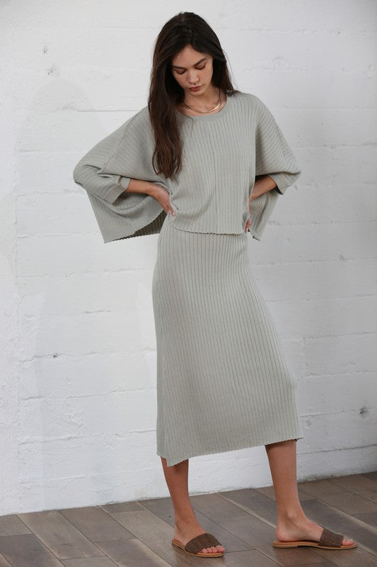 Tanya Knit Sweater & Maxi Dress Set | Sage