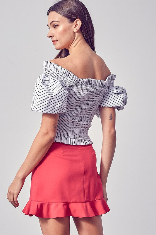 Victorie Striped Off the Shoulder Top | Black/White