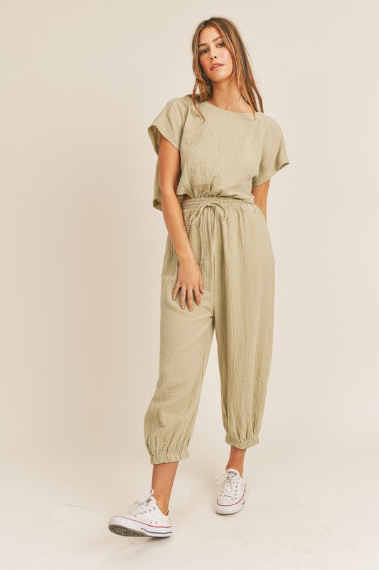 Farrah Beachy Open Back Pocketed Jumpsuit