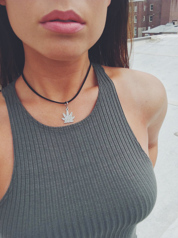 Chronica Pot Leaf Charm Choker-charm-amannequin-AMQN Boutique