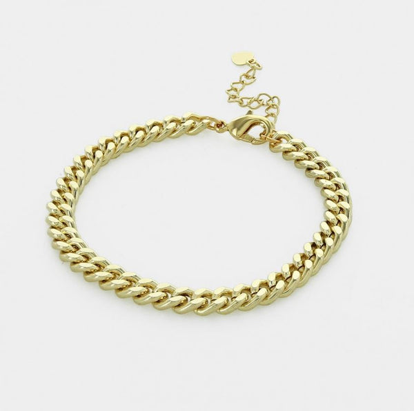 Mariah Cuban Curb Gold Chain Bracelet  - 7""