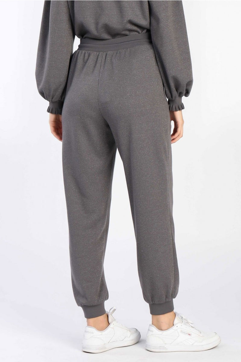 Dark N' Sparkly Shimmer Pocketed Lounge Pants - Gray
