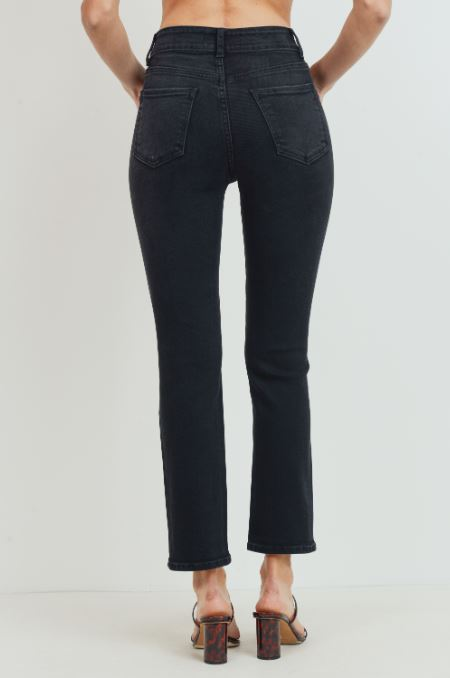 Skylar High Rise Straight Leg Jeans - Washed Black
