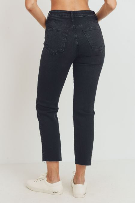 McKenzie High Rise Cut Off Classic Straight Jeans - Washed Black