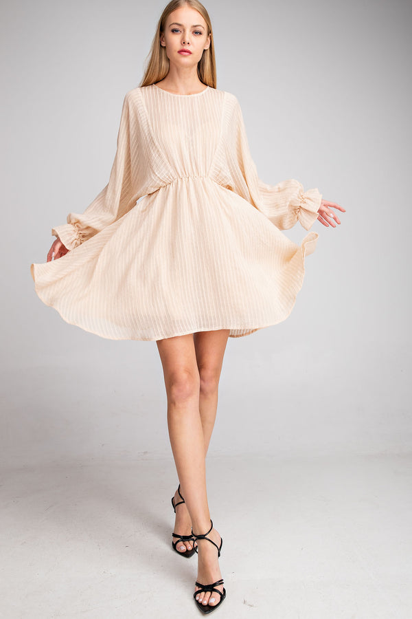 Jordana Textured Puff Sleeve Dress - Beige-dress-do + be-AMQN Boutique