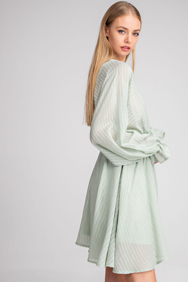 Jordana Textured Puff Sleeve Dress - Mint-dress-do + be-AMQN Boutique