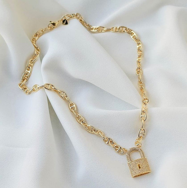 Mia Mariner Chain with CZ Lock Necklace - Gold