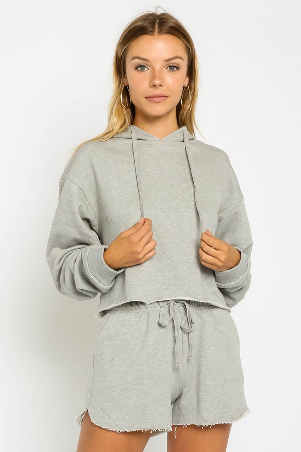 Rosalie Cropped Hoodie Sweatshirt & Shorts Lounge Set