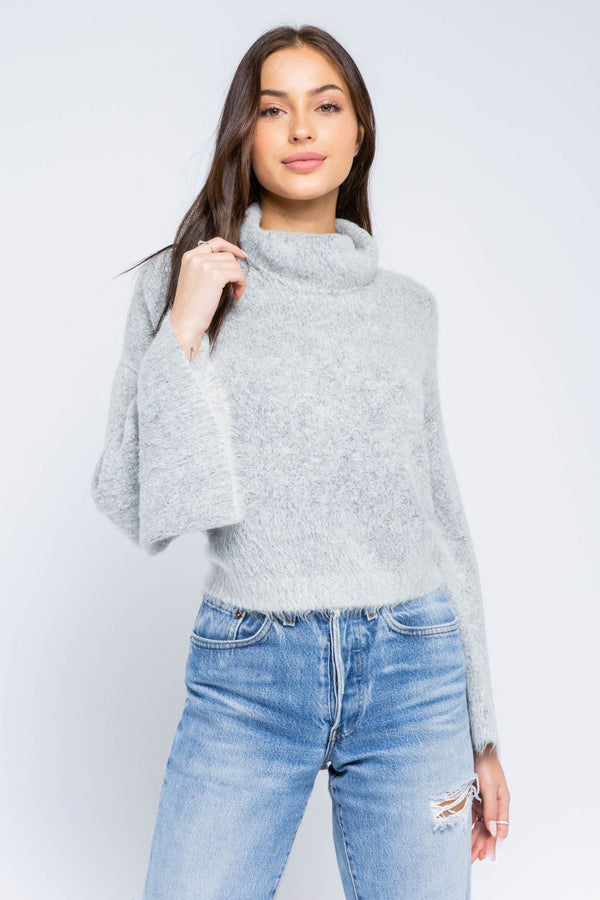 Rowan Turtleneck Open Back Sweater - Heather Gray