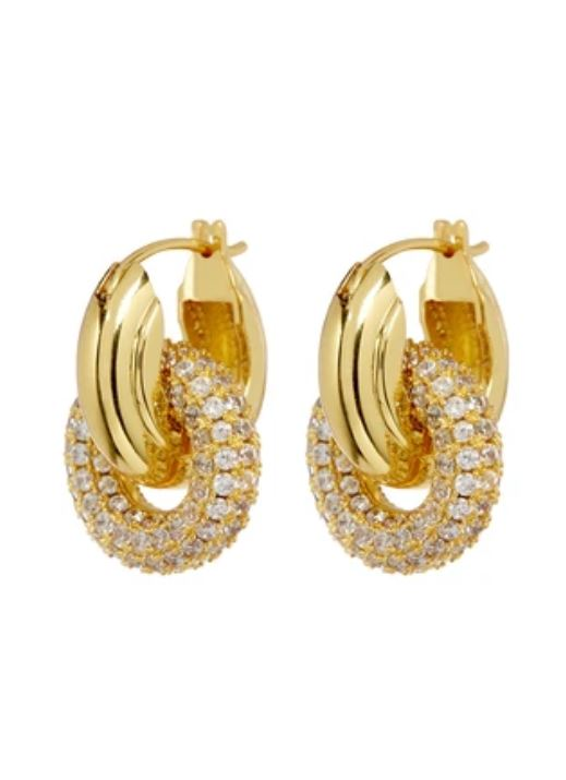 GOLD PAVE INTERLOCK HOOPS - LUV AJ