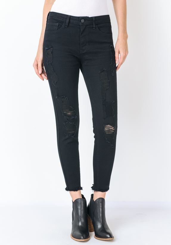 Ema Black High Rise Distressed Fray Hem Ankle Skinny Jeans - amannequin - amannequin