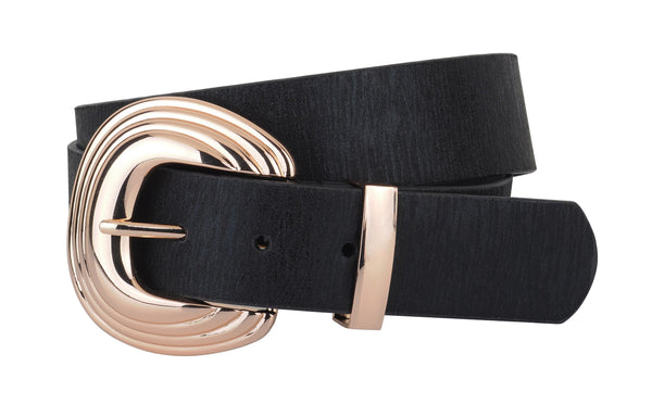 Alana Gold Buckle Shimmer Leather Belt - Black