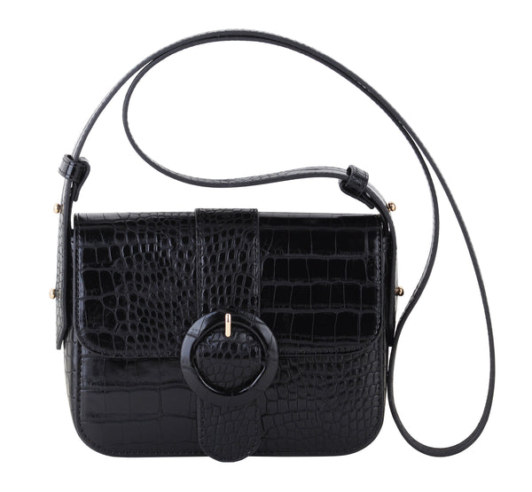 Amara Leather Mini Croc Bag