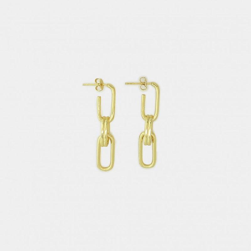 Amelia Paperclip Chain Link Earrings - Gold