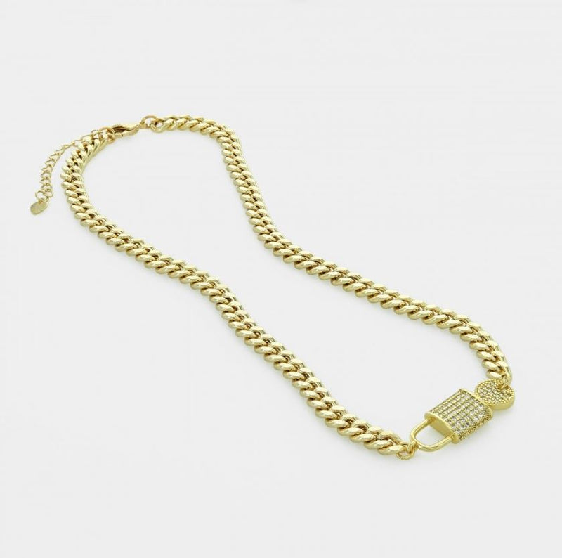 Ava Lock & Key CZ Curb Chain Necklace - Gold