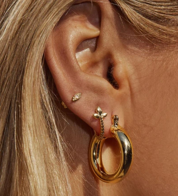 GOLD BABY AMALFI TUBE HOOPS - LUV AJ