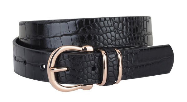 Rachel Leather Croc Equestrian Buckle Belt