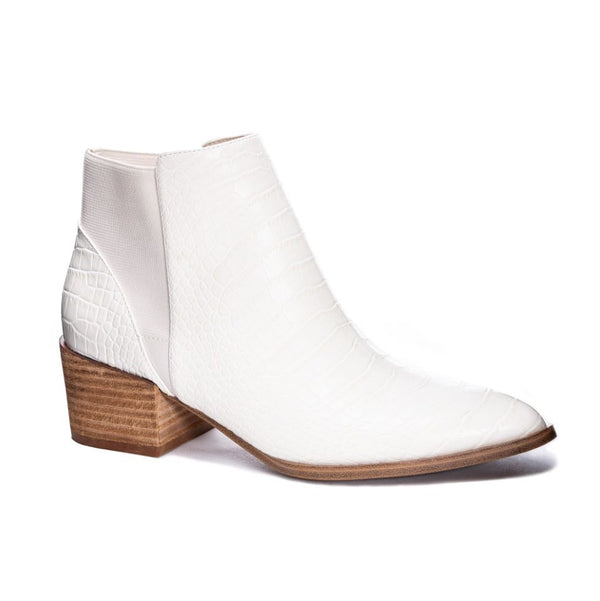 CHINESE LAUNDRY | FINN CREAM CONGO CROCO LEATHER BOOTIES