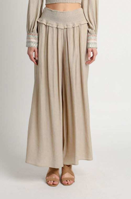 Dry Sage Beige Smocked Wide Leg Pants
