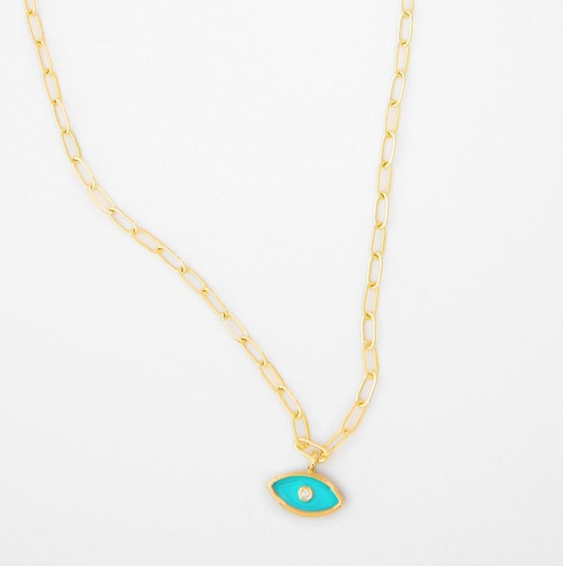 Camila Enamel Gold Chain Evil Eye Necklace - Turquoise