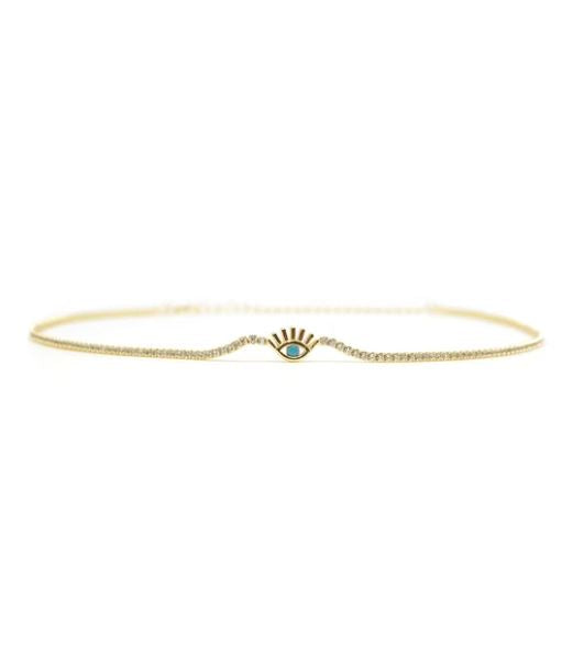 Evil Eye Sterling Silver Choker Necklace - 14k Gold Plated