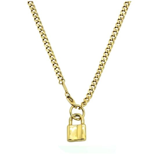 Makayla Lock Cuban Link Necklace - 14k Gold Plated